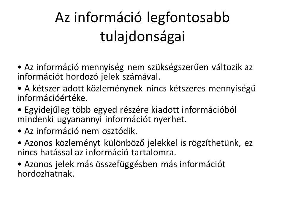 Az információ legfontosabb tulajdonságai
