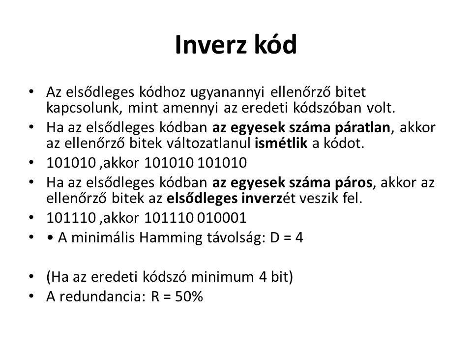 Inverz kód Az elsődleges kódhoz ugyanannyi ellenőrző bitet kapcsolunk, mint amennyi az eredeti kódszóban volt.