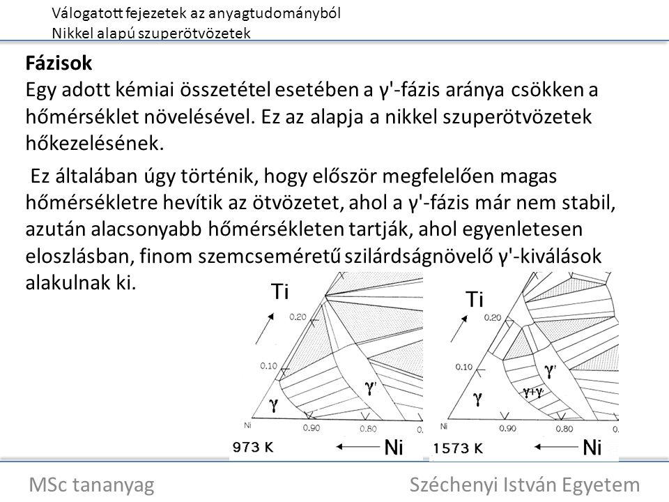 Válogatott fejezetek az anyagtudományból Nikkel alapú szuperötvözetek