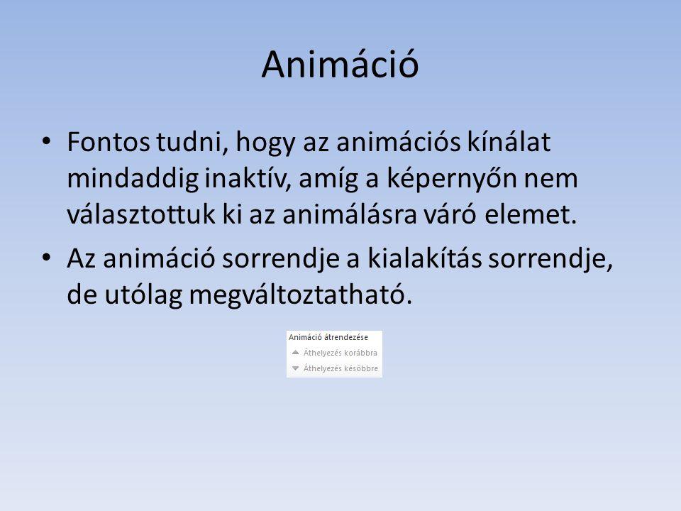 Animáció Fontos tudni, hogy az animációs kínálat mindaddig inaktív, amíg a képernyőn nem választottuk ki az animálásra váró elemet.