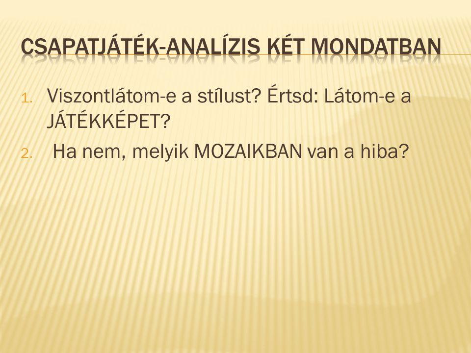 CSAPATJÁTÉK-ANALÍZIS KÉT MONDATBAN