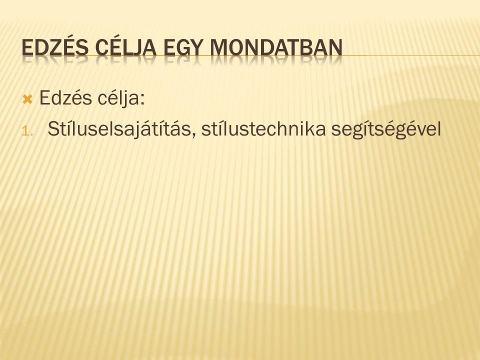 EDZÉS CÉLJA EGY MONDATBAN
