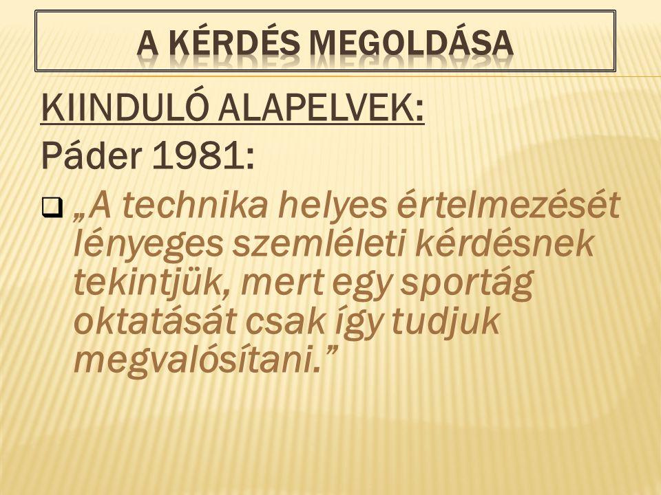 KIINDULÓ ALAPELVEK: Páder 1981: