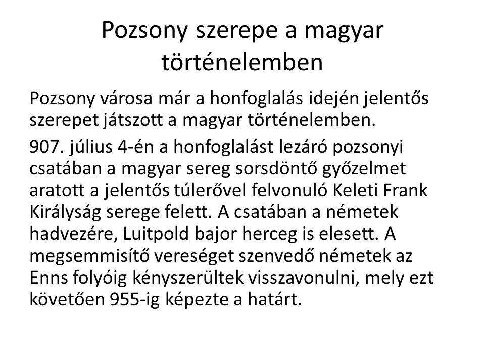 Pozsony szerepe a magyar történelemben