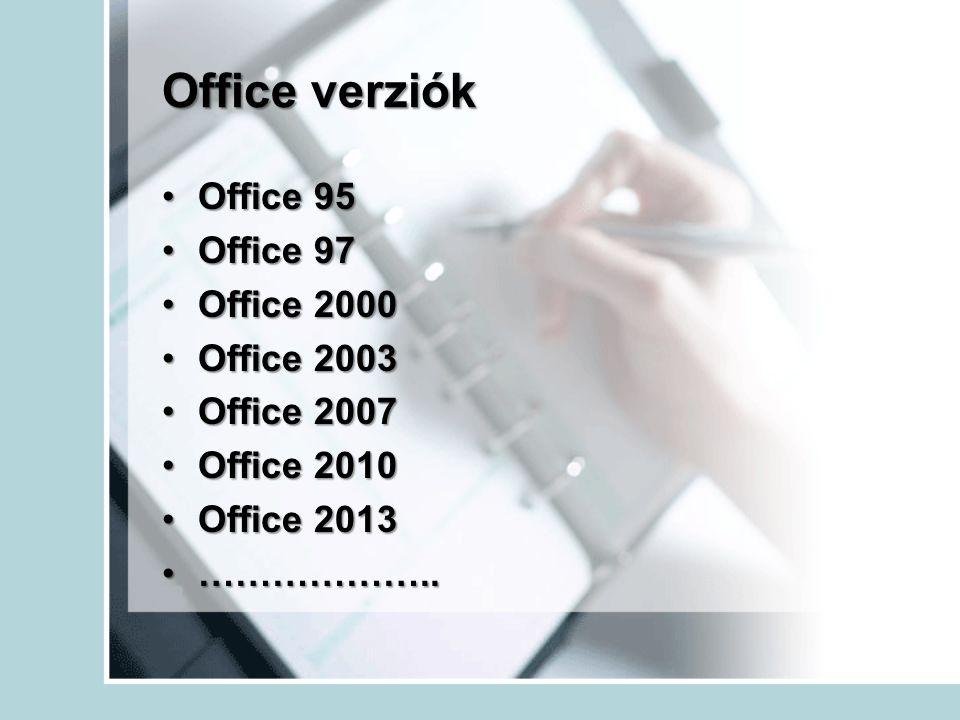 Office verziók Office 95 Office 97 Office 2000 Office 2003 Office 2007