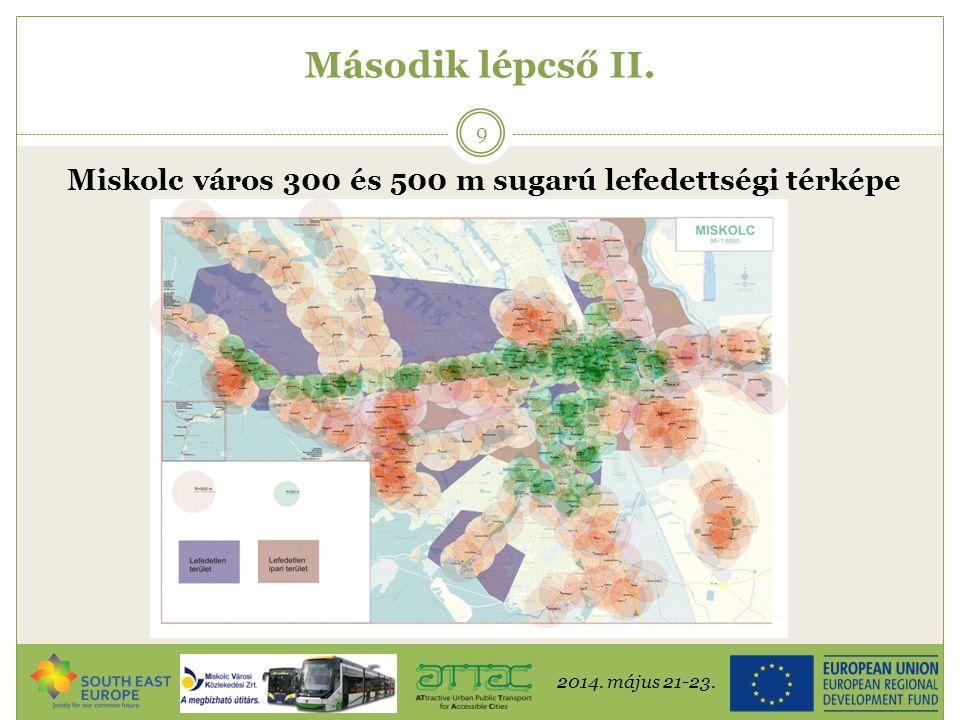 Miskolc város 300 és 500 m sugarú lefedettségi térképe