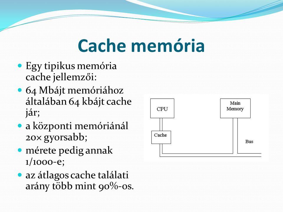 Cache memória Egy tipikus memória cache jellemzői: