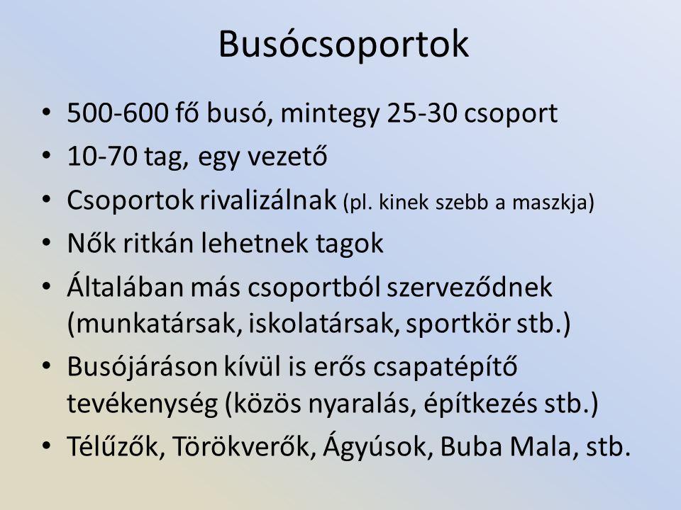 Busócsoportok 500-600 fő busó, mintegy 25-30 csoport