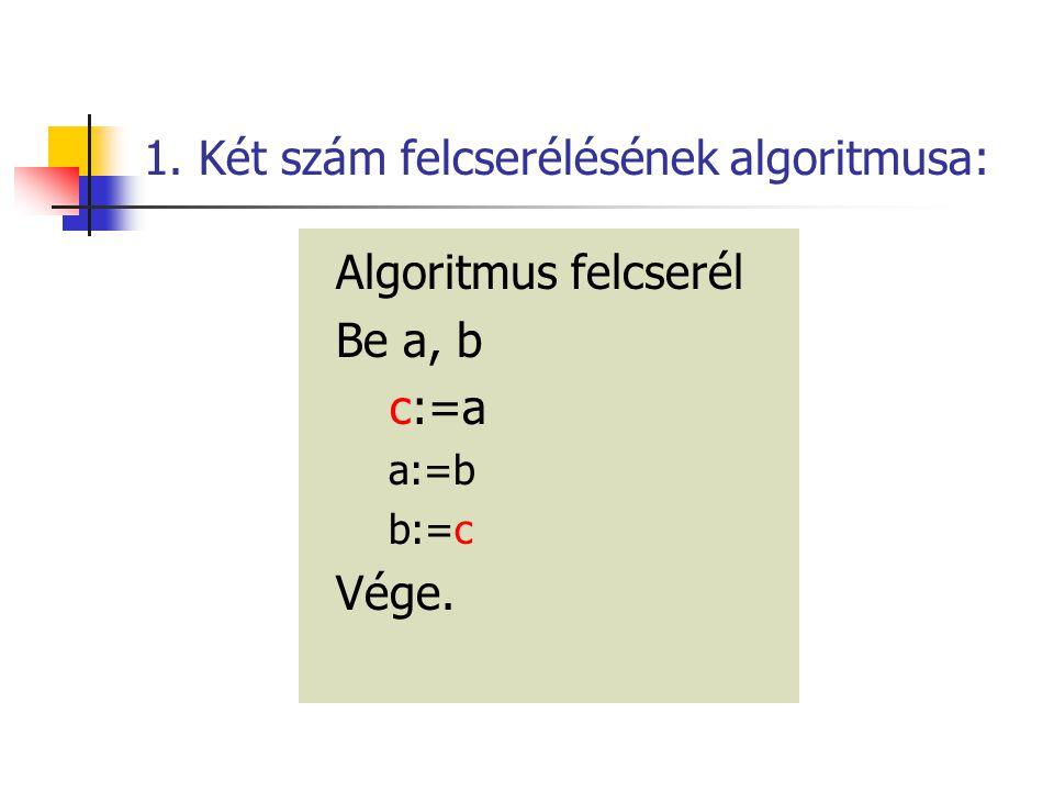 1. Két szám felcserélésének algoritmusa: