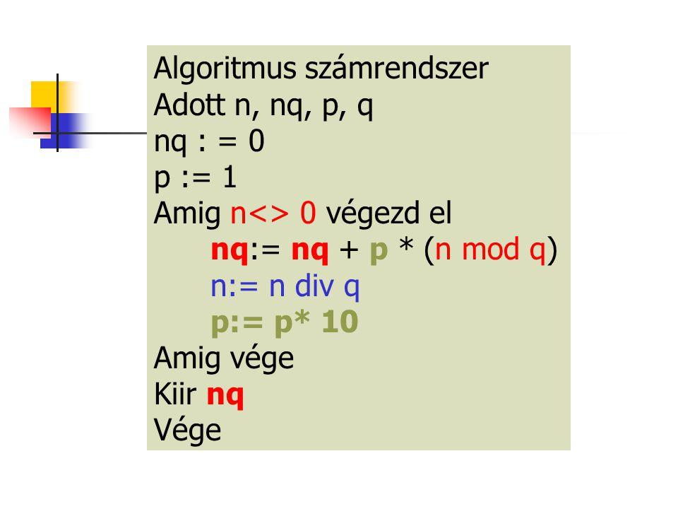 Algoritmus számrendszer
