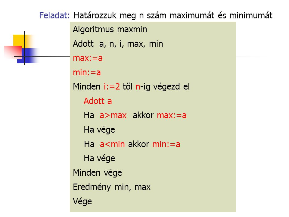 Feladat: Határozzuk meg n szám maximumát és minimumát