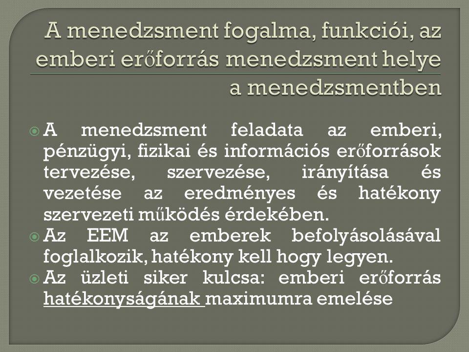 A menedzsment fogalma, funkciói, az emberi erőforrás menedzsment helye a menedzsmentben