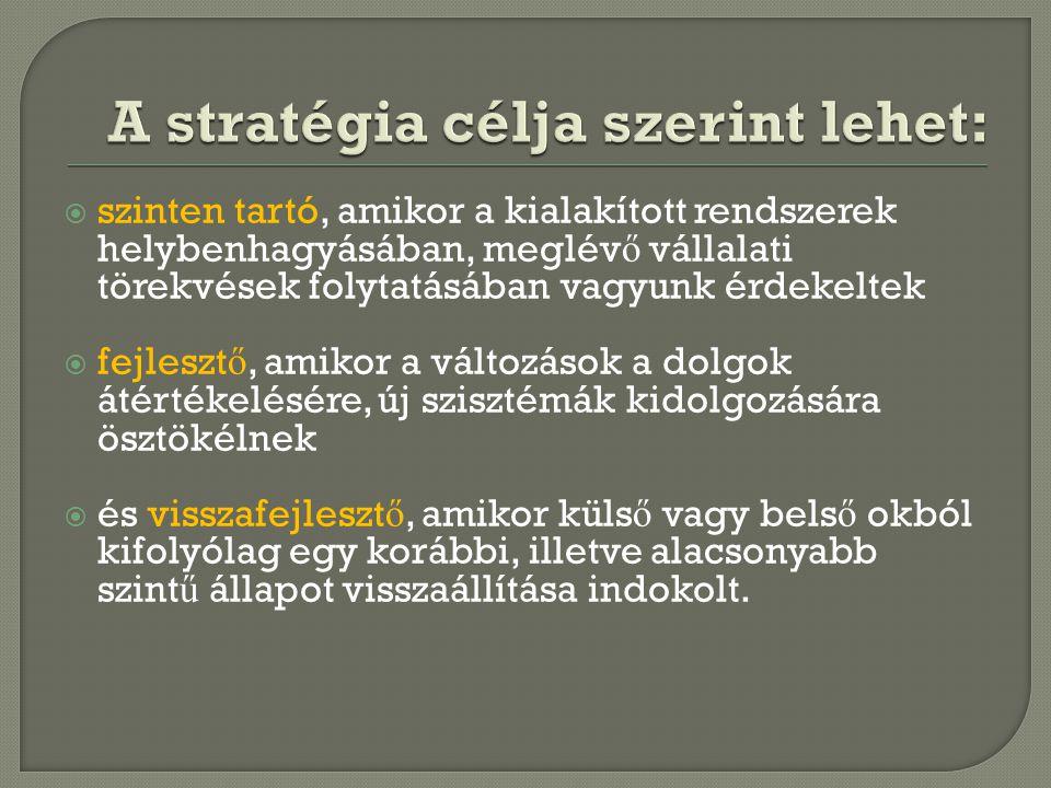 A stratégia célja szerint lehet: