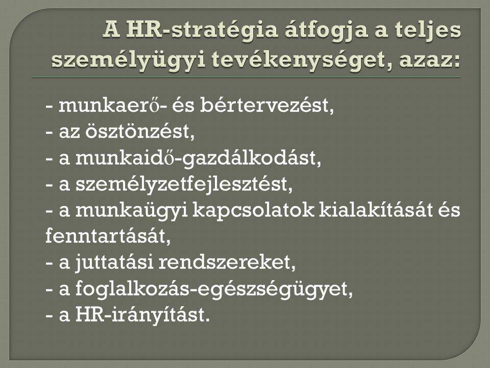 A HR-stratégia átfogja a teljes személyügyi tevékenységet, azaz: