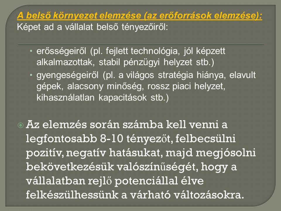 A belső környezet elemzése (az erőforrások elemzése):