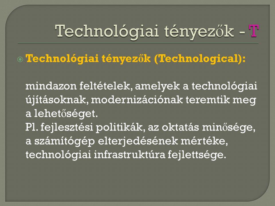 Technológiai tényezők - T