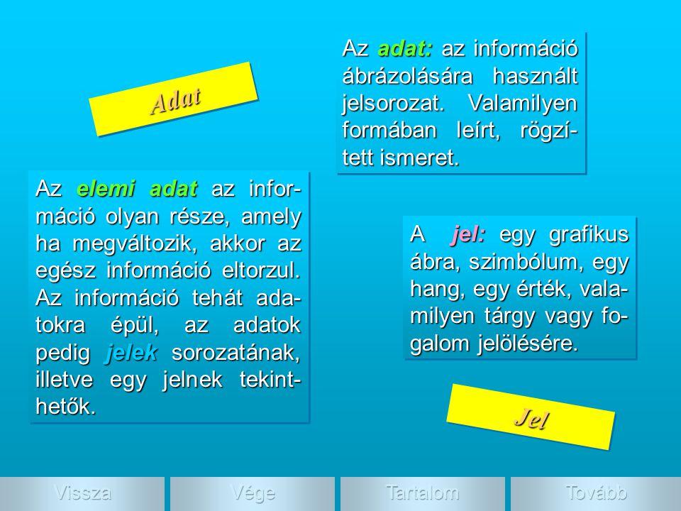 Adat, jel Az adat: az információ ábrázolására használt jelsorozat. Valamilyen formában leírt, rögzí-tett ismeret.