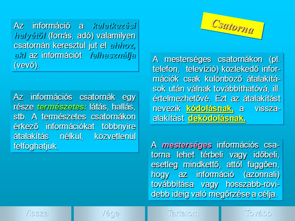 Csatorna Az információ a keletkezési helyétől (forrás, adó) valamilyen csatornán keresztül jut el ahhoz, aki az információt felhasználja (vevő).