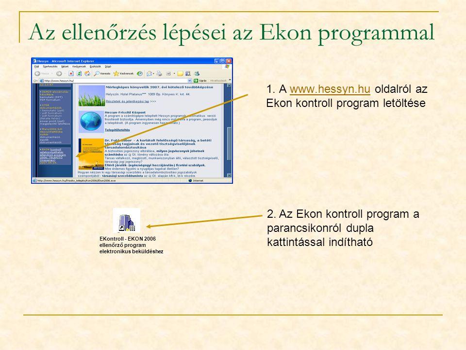 Az ellenőrzés lépései az Ekon programmal