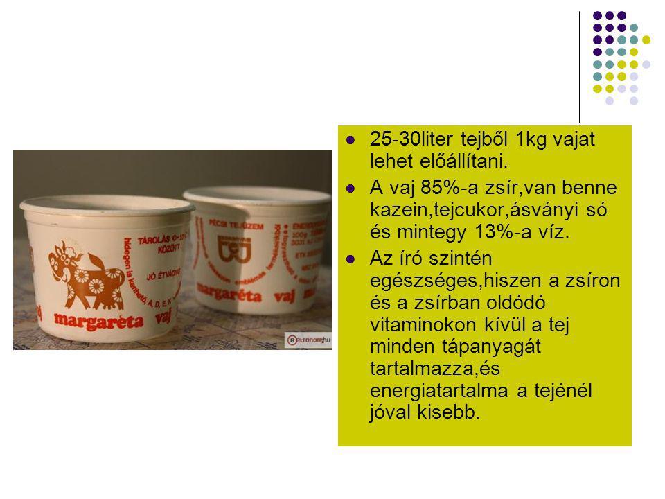 25-30liter tejből 1kg vajat lehet előállítani.