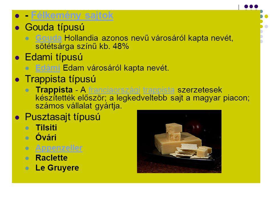 - Félkemény sajtok Gouda típusú Edami típusú Trappista típusú