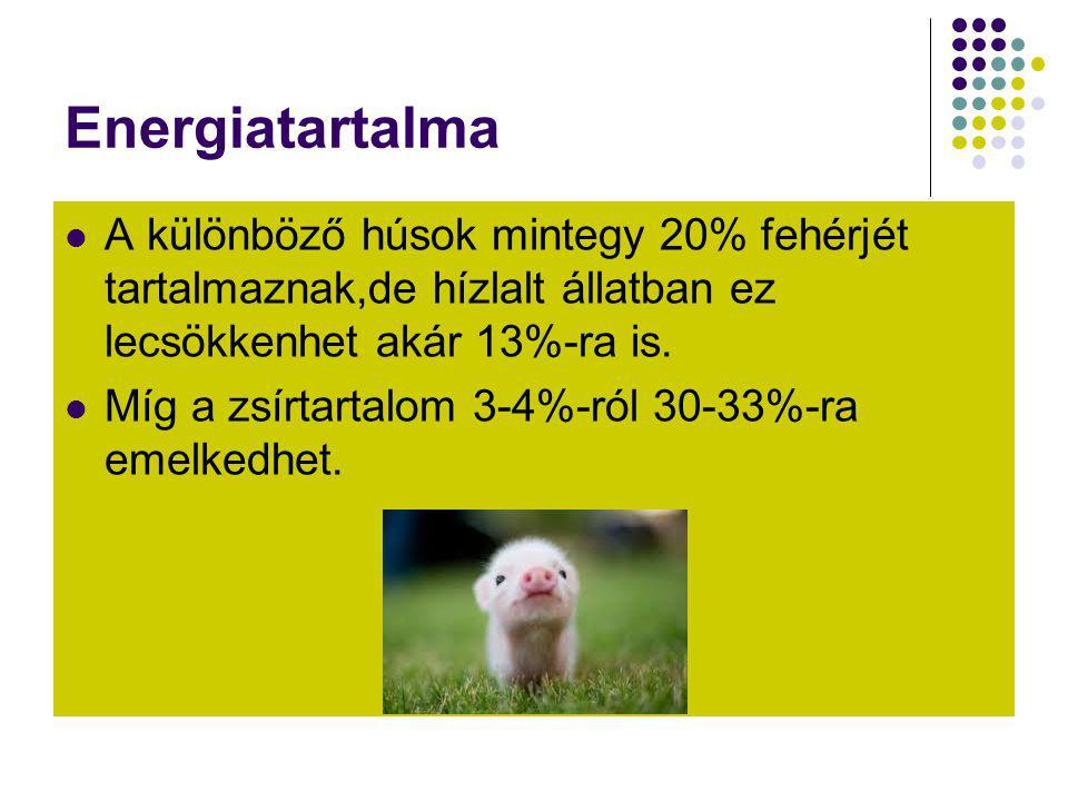 Energiatartalma A különböző húsok mintegy 20% fehérjét tartalmaznak,de hízlalt állatban ez lecsökkenhet akár 13%-ra is.