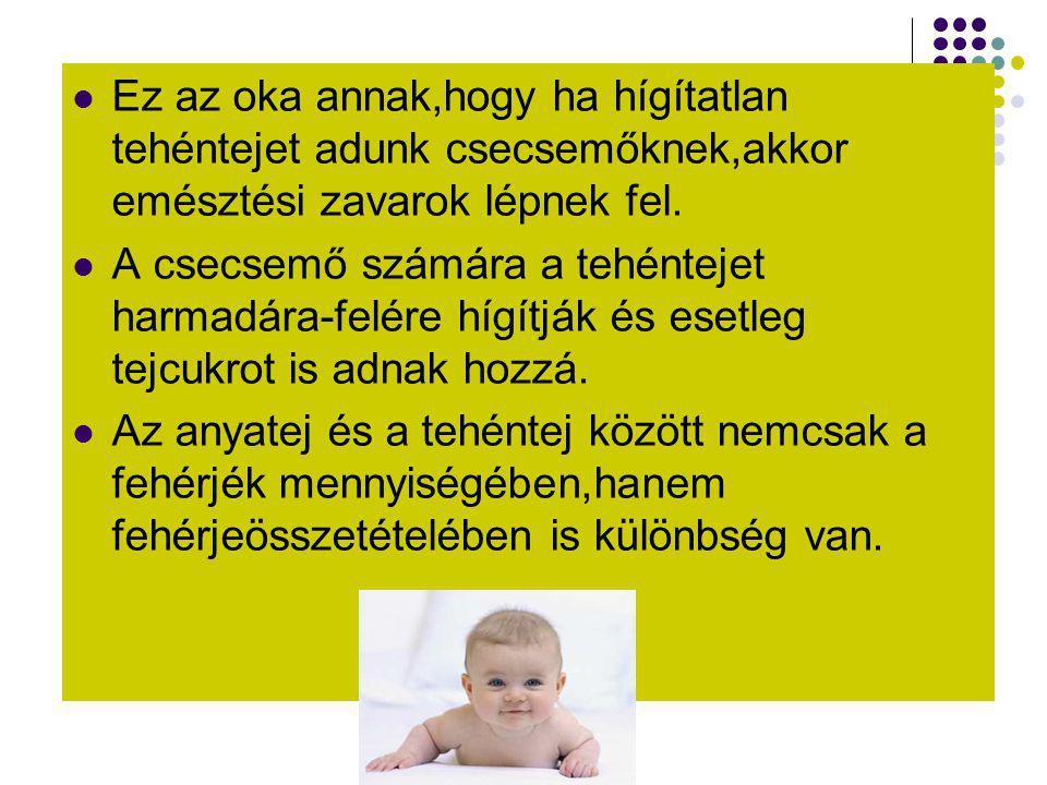 Ez az oka annak,hogy ha hígítatlan tehéntejet adunk csecsemőknek,akkor emésztési zavarok lépnek fel.