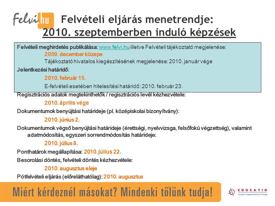 Felvételi eljárás menetrendje: 2010. szeptemberben induló képzések