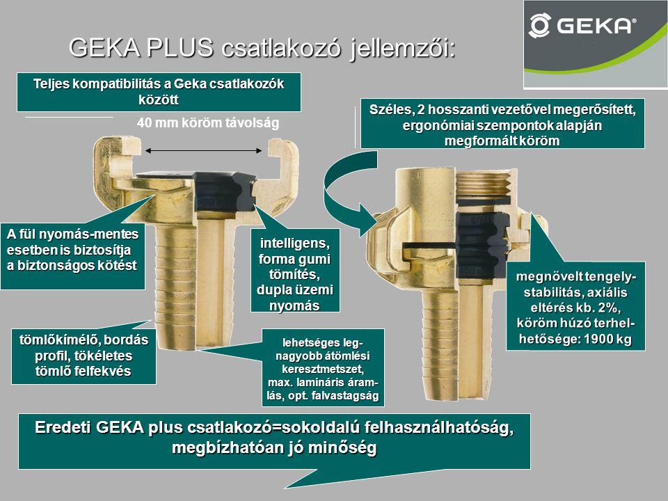 GEKA PLUS csatlakozó jellemzői: