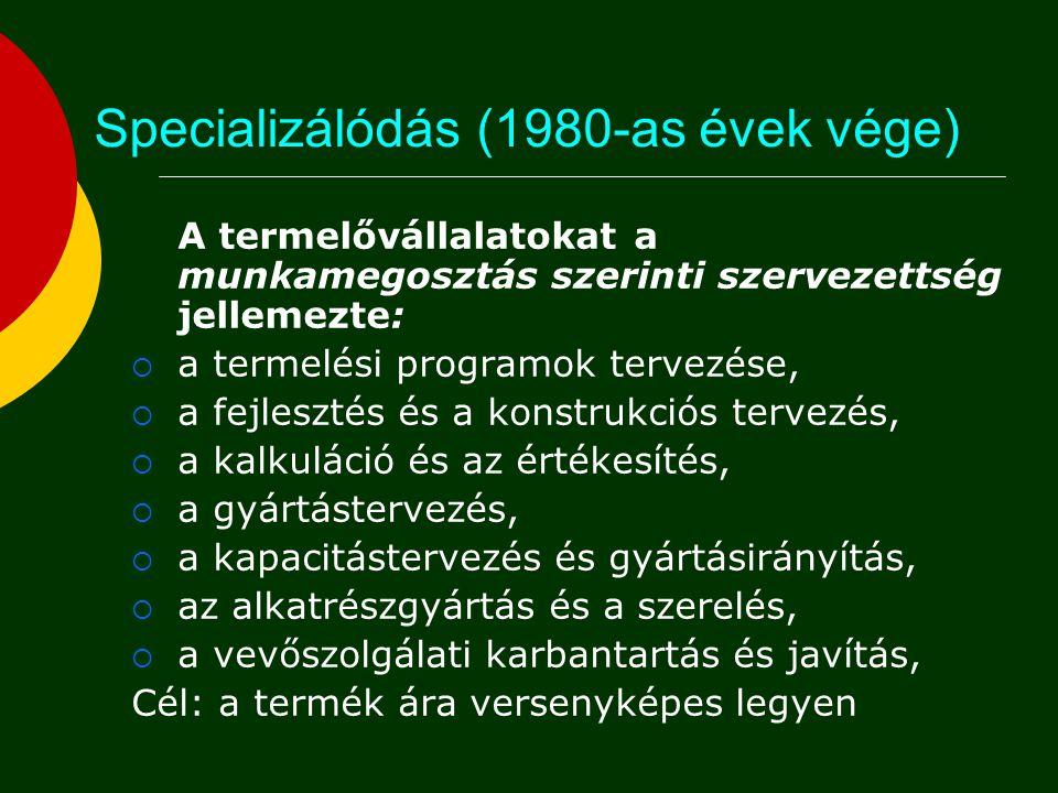 Specializálódás (1980-as évek vége)