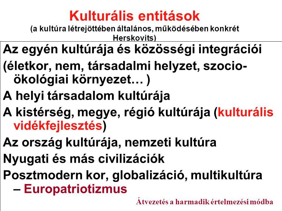 Kulturális entitások (a kultúra létrejöttében általános, működésében konkrét Herskovits)