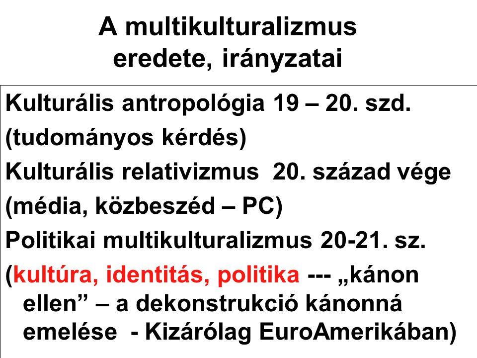 A multikulturalizmus eredete, irányzatai