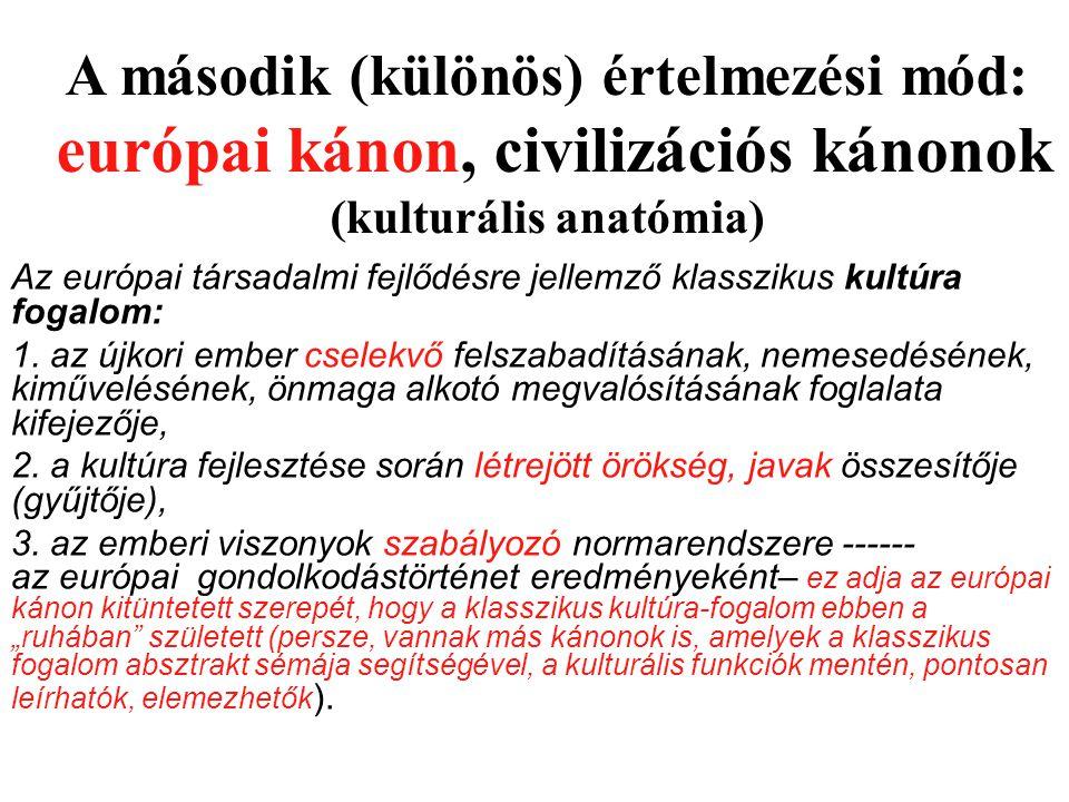 A második (különös) értelmezési mód: európai kánon, civilizációs kánonok (kulturális anatómia)