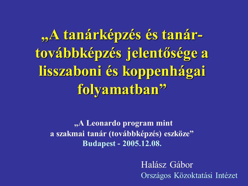 """""""A tanárképzés és tanár-továbbképzés jelentősége a lisszaboni és koppenhágai folyamatban """"A Leonardo program mint a szakmai tanár (továbbképzés) eszköze Budapest - 2005.12.08."""