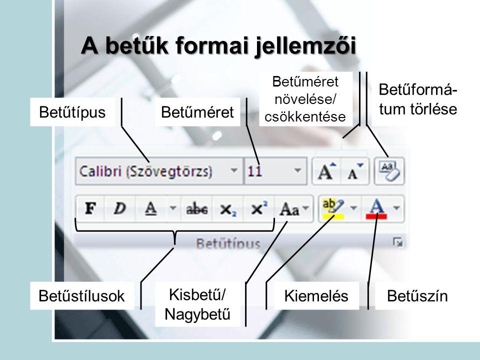A betűk formai jellemzői