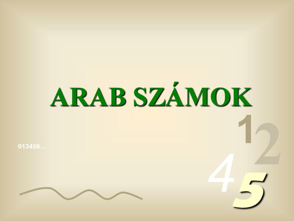 ARAB SZÁMOK 1 2 4 013456… 5