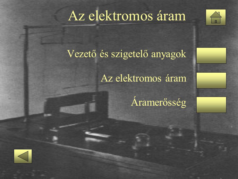 Az elektromos áram Vezető és szigetelő anyagok Az elektromos áram
