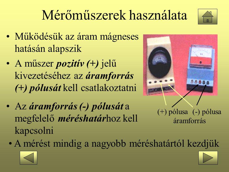 Mérőműszerek használata