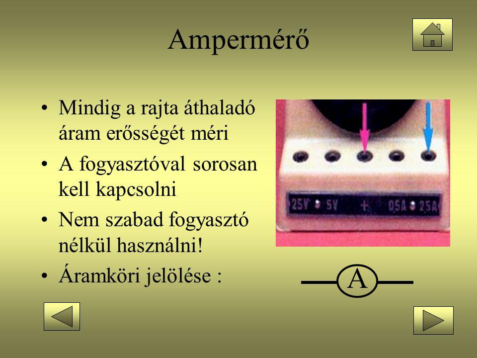 Ampermérő A Mindig a rajta áthaladó áram erősségét méri