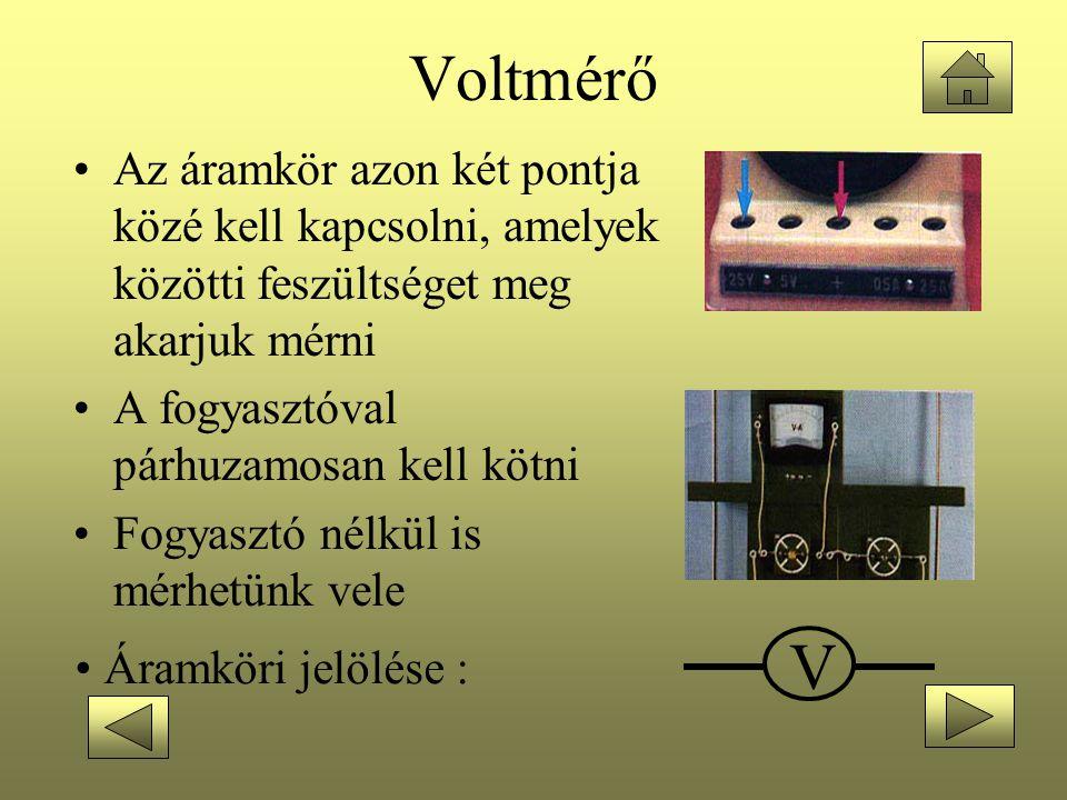 Voltmérő Az áramkör azon két pontja közé kell kapcsolni, amelyek közötti feszültséget meg akarjuk mérni.