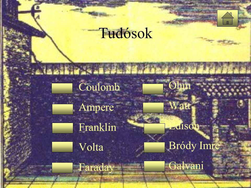 Tudósok Ohm Coulomb Watt Ampere Edison Franklin Bródy Imre Volta