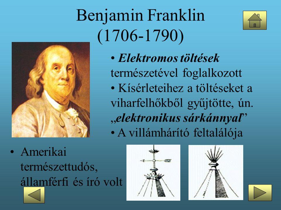 Benjamin Franklin (1706-1790) Elektromos töltések természetével foglalkozott.