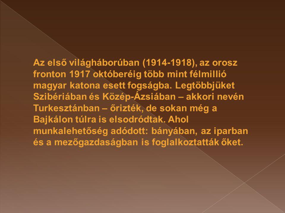 Az első világháborúban (1914-1918), az orosz fronton 1917 októberéig több mint félmillió magyar katona esett fogságba.