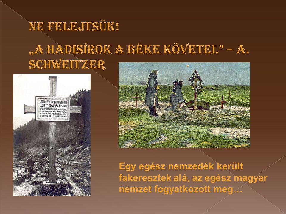 """""""A HADISÍROK A BÉKE KÖVETEI. – A. SCHWEITZER"""
