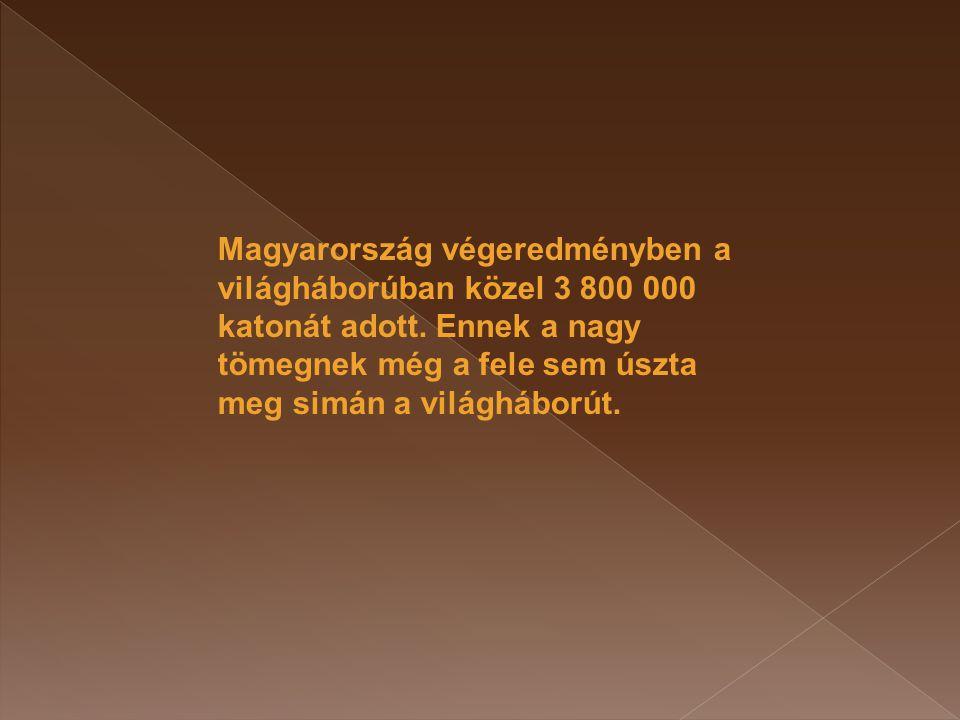 Magyarország végeredményben a világháborúban közel 3 800 000 katonát adott.