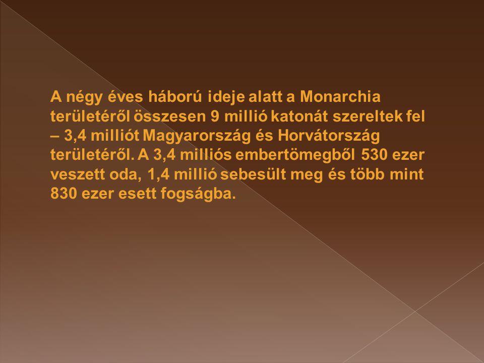 A négy éves háború ideje alatt a Monarchia területéről összesen 9 millió katonát szereltek fel – 3,4 milliót Magyarország és Horvátország területéről.