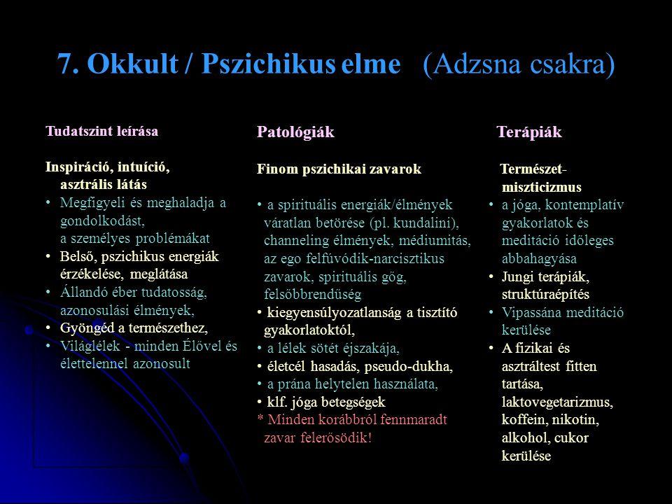 7. Okkult / Pszichikus elme (Adzsna csakra)