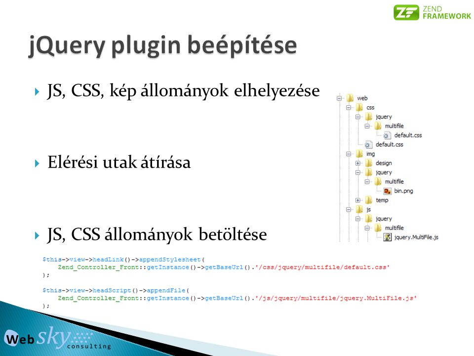 jQuery plugin beépítése