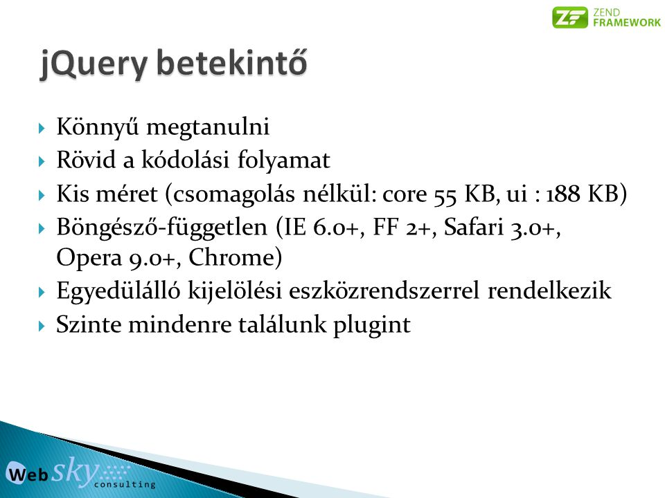 jQuery betekintő Könnyű megtanulni Rövid a kódolási folyamat