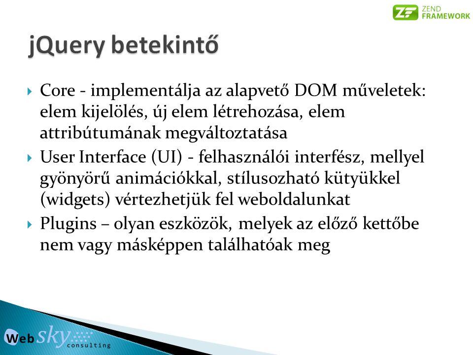 jQuery betekintő Core - implementálja az alapvető DOM műveletek: elem kijelölés, új elem létrehozása, elem attribútumának megváltoztatása.